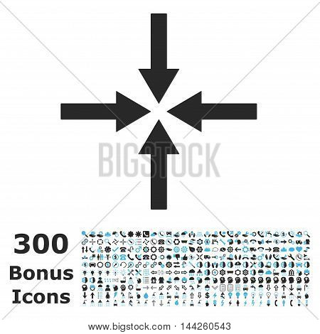 Impact Arrows icon with 300 bonus icons. Vector illustration style is flat iconic bicolor symbols, blue and gray colors, white background.