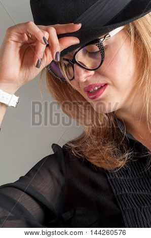 Girl in glasses. business woman in glasses. Sexy hot woman with glasses. Close-up