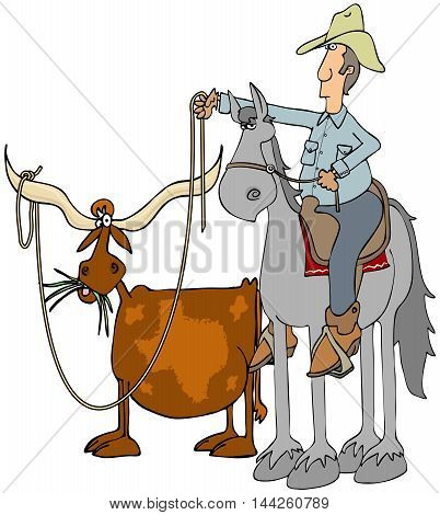 Illustration of a cowboy on a horse roping a Texas longhorn steer.