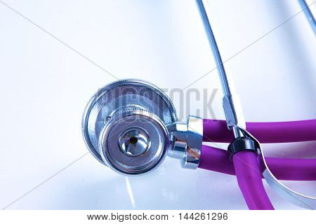 Stethoscope on laptop keyboard. Concept 3D image.