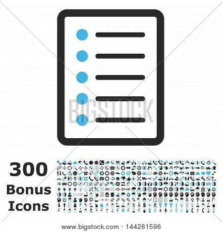 List Page icon with 300 bonus icons. Vector illustration style is flat iconic bicolor symbols, blue and gray colors, white background.