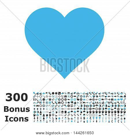 Love Heart icon with 300 bonus icons. Vector illustration style is flat iconic bicolor symbols, blue and gray colors, white background.