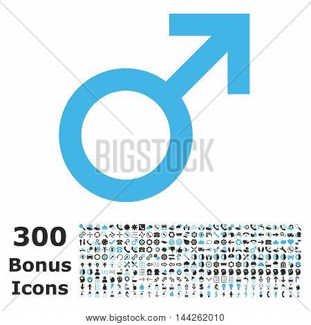 Male Symbol icon with 300 bonus icons. Vector illustration style is flat iconic bicolor symbols, blue and gray colors, white background.