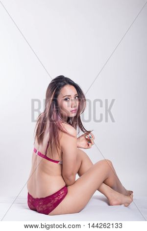 Beautiful Slim Body Of Asian Women In Studio With White Background