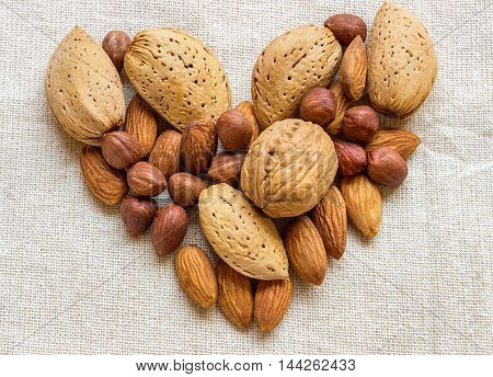 Symbol - the heart composed of different nuts. Concept - healthy food. Close-up of almonds hazelnuts and walnuts.