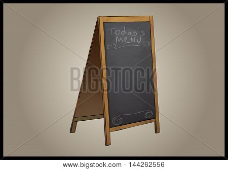 Restaurant Menu Black Board Isolated Stylized Illustration