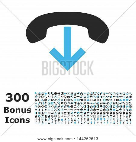 Phone Hang Up icon with 300 bonus icons. Vector illustration style is flat iconic bicolor symbols, blue and gray colors, white background.