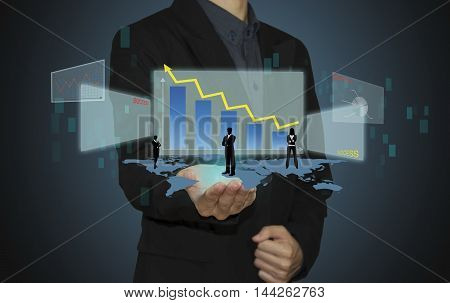 business man analyze graph on hand and connection of business with new modern.