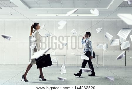 Busy office life  . Mixed media