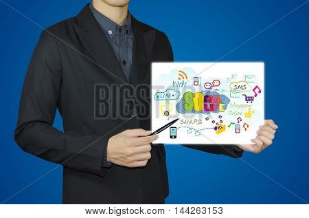 businessman hand showing white board and social media concept.