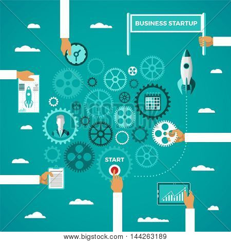 Business Startup Infographic Concept In Flat Style