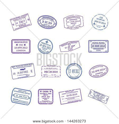 Vector international travel visa stamps set isolated on white
