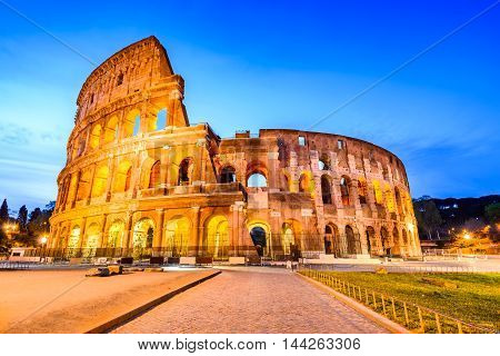 Rome Italy. Colosseum Coliseum or Coloseo Flavian Amphitheatre largest ever built symbol of ancient Roma city in Roman Empire.