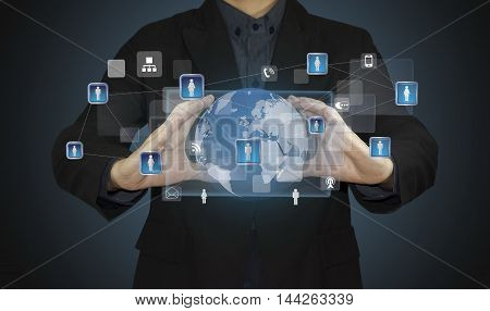 businessman hand with web social network structure.