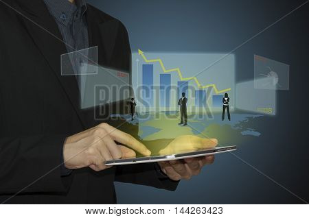 business man analyze graph on tablet and connection of business with new modern.