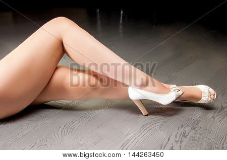 Feet girl photographed in the studio, beautiful, beauty, body,