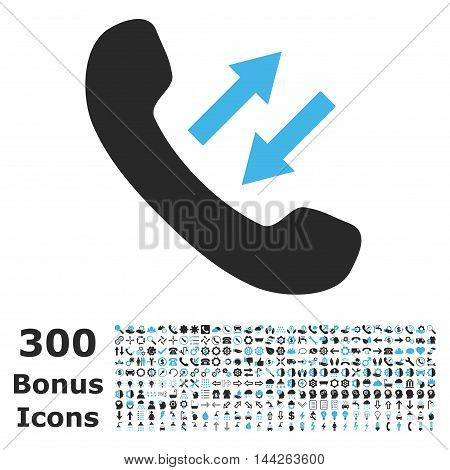 Phone Talking icon with 300 bonus icons. Vector illustration style is flat iconic bicolor symbols, blue and gray colors, white background.