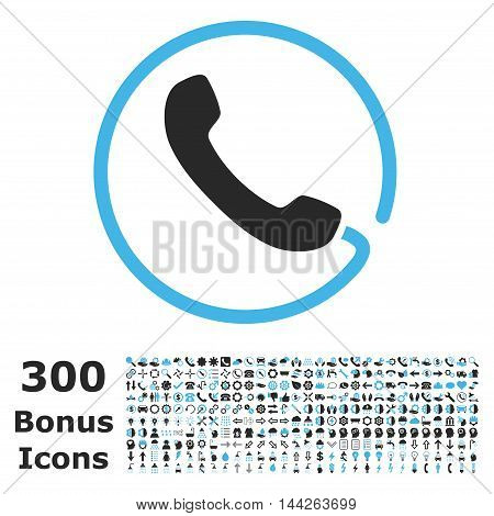 Phone icon with 300 bonus icons. Vector illustration style is flat iconic bicolor symbols, blue and gray colors, white background.
