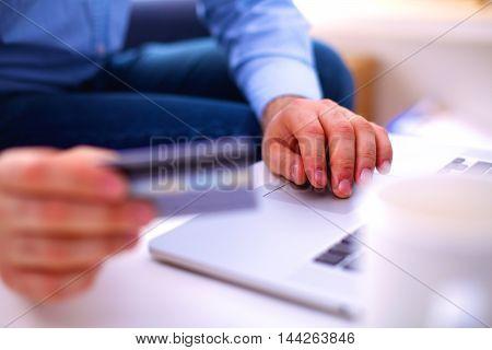 businessman working at a computer hands closeup.