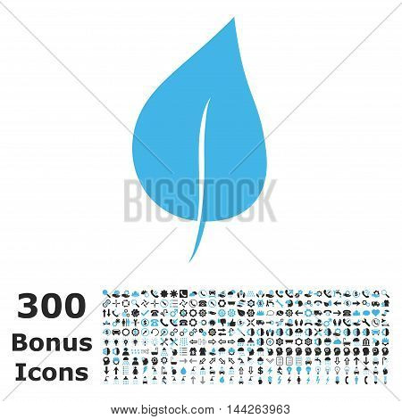 Plant Leaf icon with 300 bonus icons. Vector illustration style is flat iconic bicolor symbols, blue and gray colors, white background.