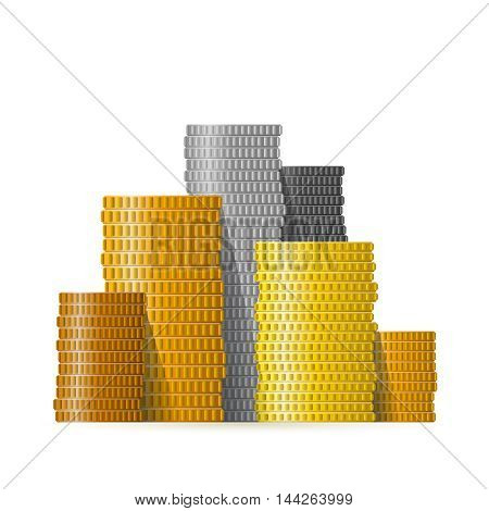 Realistic Vector Different Coin Piles In Flat Style