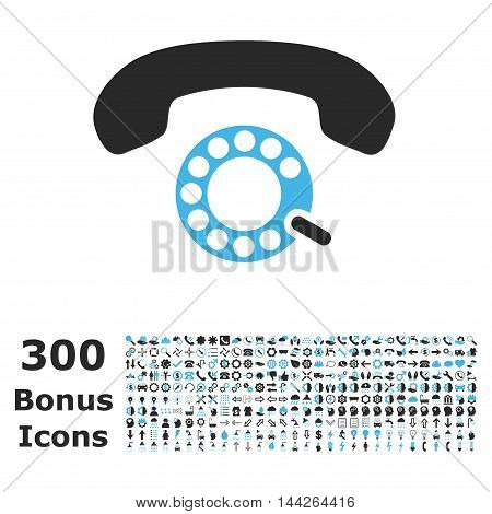 Pulse Dialing icon with 300 bonus icons. Vector illustration style is flat iconic bicolor symbols, blue and gray colors, white background.