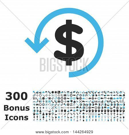 Refund icon with 300 bonus icons. Vector illustration style is flat iconic bicolor symbols, blue and gray colors, white background.