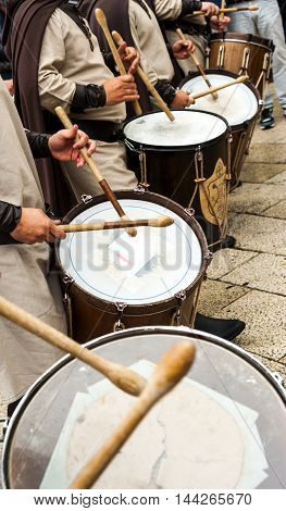 Altamura Italy - April 25 2016: musical group in medieval costume parade through the streets of Altamura. Fifth edition of