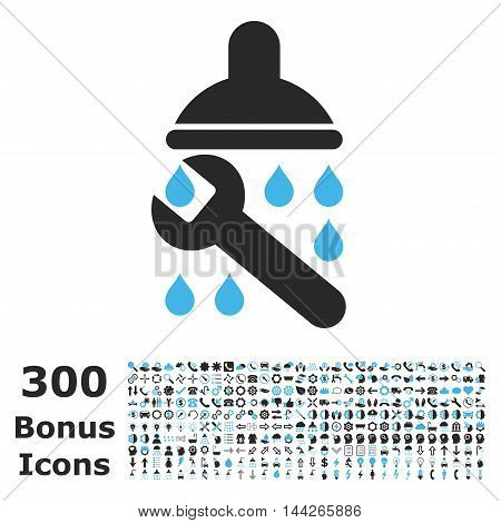 Shower Plumbing icon with 300 bonus icons. Vector illustration style is flat iconic bicolor symbols, blue and gray colors, white background.