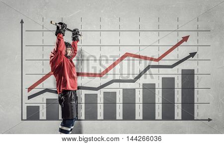 Hockey player and dynamics graph . Mixed media