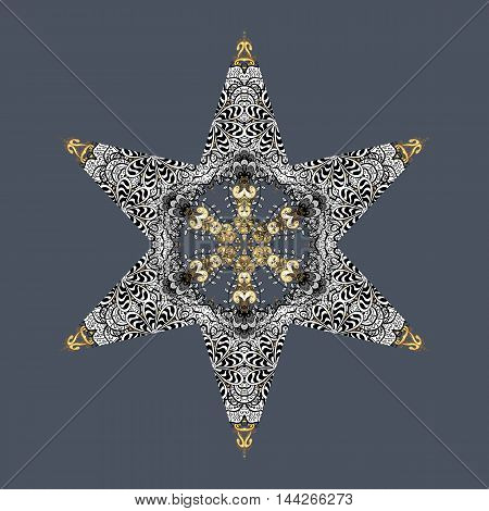 Oriental vector pattern with floral elements. Abstract silver and golden ornament