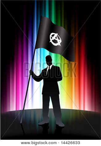 Anarchy Flag with Businessman on Abstract Spectrum Background Original Illustration