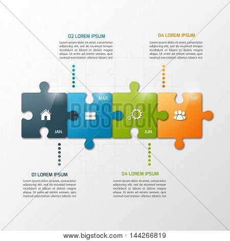Vector 4 Steps Puzzle Style Timeline Infographic Template. Business Concept.