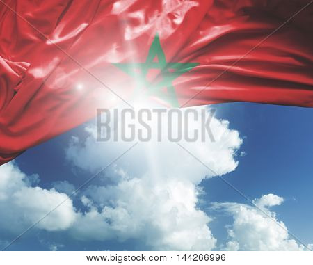 Morocco flag on a beautiful day