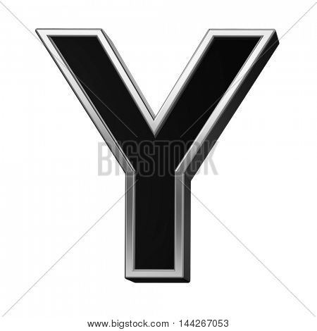 One letter from black with silver shiny frame alphabet set, isolated on white. 3D illustration.