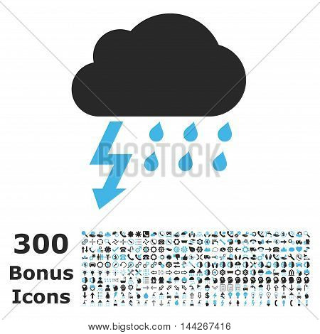 Thunderstorm icon with 300 bonus icons. Vector illustration style is flat iconic bicolor symbols, blue and gray colors, white background.