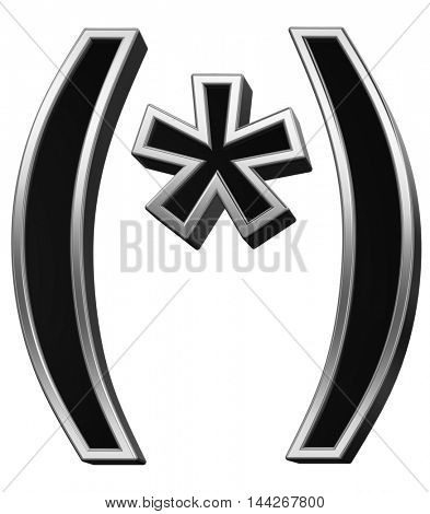 Parenthesis, asterisk from black with silver shiny frame alphabet set, isolated on white. 3D illustration.