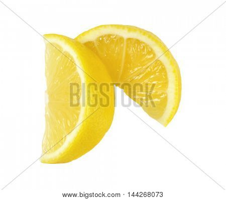 fresh lemon slices on white background