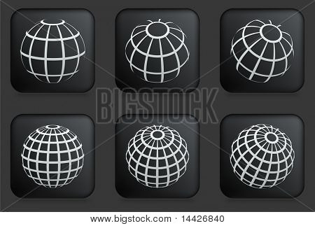 Globe Icons on Square Black Button Collection Original Illustration