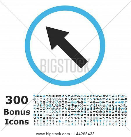 Up-Left Rounded Arrow icon with 300 bonus icons. Vector illustration style is flat iconic bicolor symbols, blue and gray colors, white background.