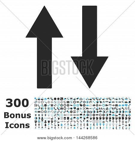 Vertical Flip Arrows icon with 300 bonus icons. Vector illustration style is flat iconic bicolor symbols, blue and gray colors, white background.