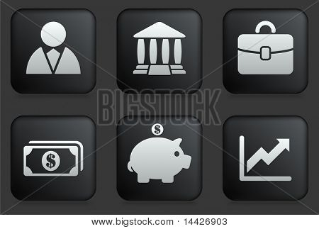 Economy Icons on Square Black Button Collection Original Illustration