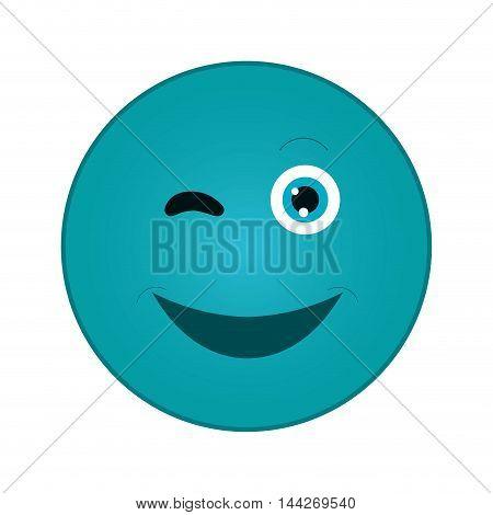 flat design happy wink emoticon icon vector illustration