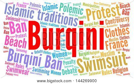 Burqini polemic in France word cloud illustration