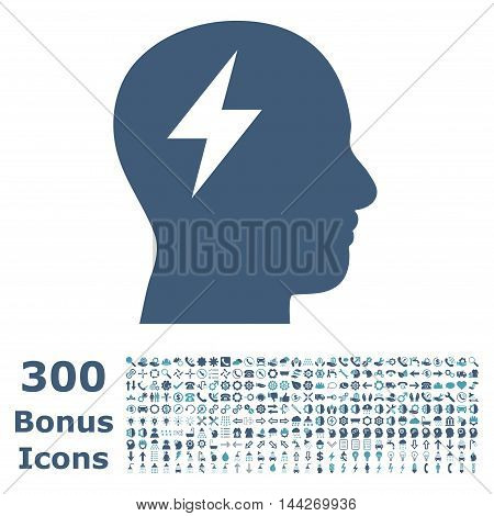 Brainstorming icon with 300 bonus icons. Vector illustration style is flat iconic bicolor symbols, cyan and blue colors, white background.