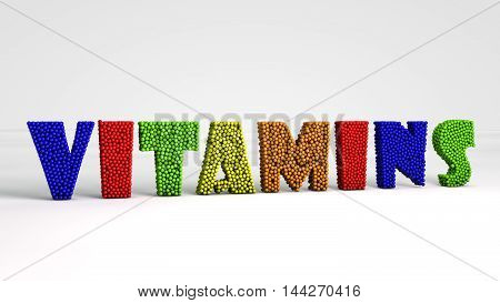 vitamins colorful pheres 3d render  text isolated