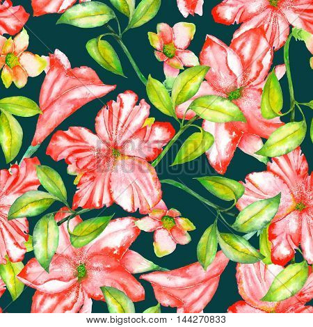 A seamless pattern with the watercolor red exotic flowers, hibiscus on a dark green background