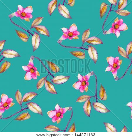 A seamless pattern with the watercolor crimson and scarlet small exotic flowers, hibiscus on a turquoise background