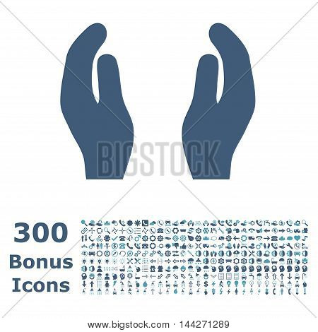 Care Hands icon with 300 bonus icons. Vector illustration style is flat iconic bicolor symbols, cyan and blue colors, white background.
