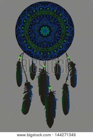 Hand-drawn mandala with dreamcatcher with feathers in black, green and blue colors. Ethnic illustration, tribal